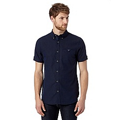 Jeff Banks - Designer navy plain linen blend shirt