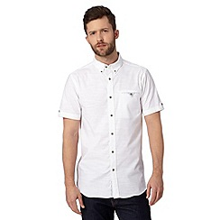 Jeff Banks - Big and tall designer white textured short sleeve shirt