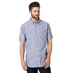 Jeff Banks - Big and tall designer blue textured short sleeved shirt