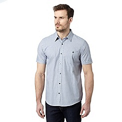 Jeff Banks - Big and tall designer blue crosshatch print shirt