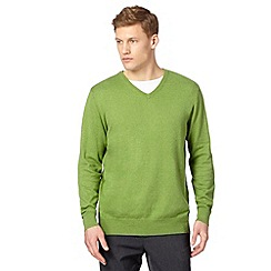 Jeff Banks - Big and tall designer green cotton crew neck jumper