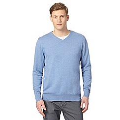 Jeff Banks - Big and tall designer pale blue cotton crew neck jumper