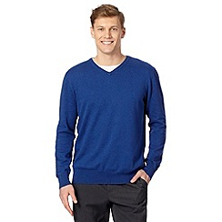 Jeff Banks - Designer mid blue cotton crew neck jumper