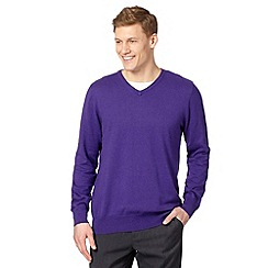 Jeff Banks - Big and tall designer purple cotton crew neck jumper