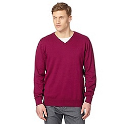 Jeff Banks - Designer dark pink cotton crew neck jumper