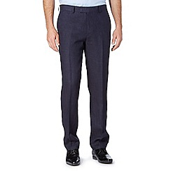 Jeff Banks - Big and tall designer navy pure linen trousers