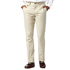 Jeff Banks - Designer natural drawstring linen blend trousers
