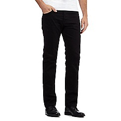 Jeff Banks - Big and tall designer black raw straight leg jeans