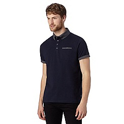 Jeff Banks - Big and tall designer navy floral collar polo shirt