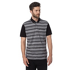 Jeff Banks - Big and tall designer black striped polo shirt