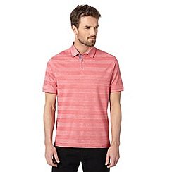 Jeff Banks - Big and tall designer red tonal block striped polo shirt