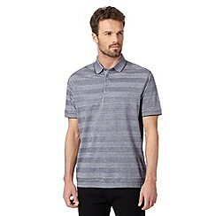 Jeff Banks - Big and tall designer blue tonal block striped polo shirt