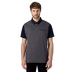 Jeff Banks - Designer navy herringbone knit polo shirt