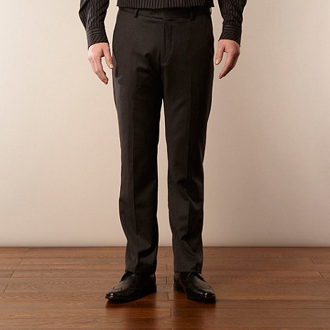 Jeff Banks - Big and tall grey smart herringbone trousers
