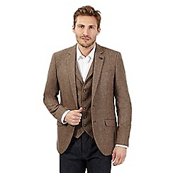 Jeff Banks - Big and tall brown wool blend speckle blazer