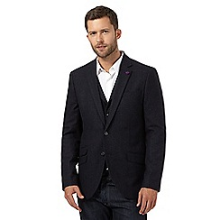 Jeff Banks - Big and tall blue wool blend checked blazer