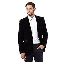Jeff Banks - Big and tall black velvet herringbone single breasted jacket