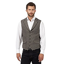 Jeff Banks - Big and tall grey zig zag wool blend waistcoat