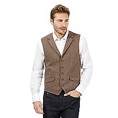 Jeff Banks - Big and tall brown wool blend textured waistcoat