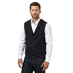 Jeff Banks - Big and tall blue wool blend checked waistcoat