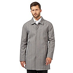 Jeff Banks - Big and tall grey checked mac coat