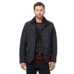 Jeff Banks - Big and tall navy quilted coat
