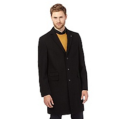 Jeff Banks - Big and tall black buttoned overcoat