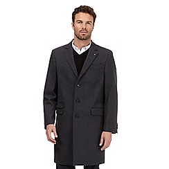 Jeff Banks - Big and tall dark grey single breasted overcoat
