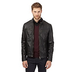 Jeff Banks - Big and tall black quilted biker jacket
