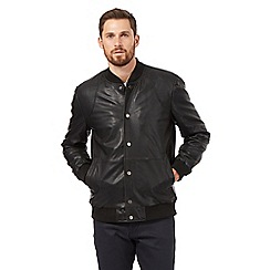 Jeff Banks - Big and tall black leather baseball bomber