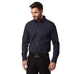 Jeff Banks - Big and tall designer navy textured long sleeved shirt