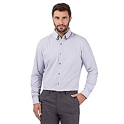 Jeff Banks - Big and tall designer lilac checked long sleeved shirt