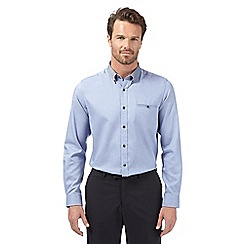 Jeff Banks - Big and tall designer blue jacquard button down shirt