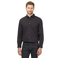 Jeff Banks - Big and tall black polka stripe print shirt