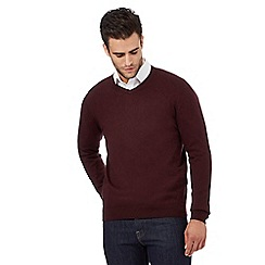 Jeff Banks - Big and tall designer wine v neck cashmere blend jumper