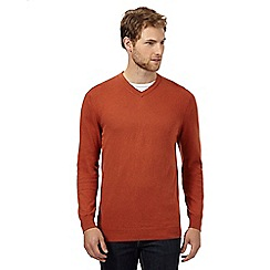 Jeff Banks - Big and tall designer orange v neck cashmere blend jumper