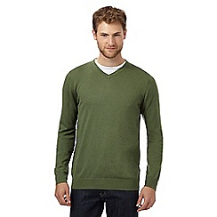 Jeff Banks - Big and tall green v necked silk and cashmere blend jumper