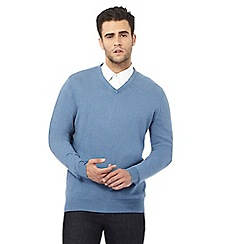 Jeff Banks - Big and tall designer blue v neck cashmere blend jumper