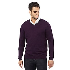 Jeff Banks - Big and tall designer dark purple v neck cashmere blend jumper
