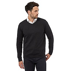 Jeff Banks - Big and tall designer dark grey v neck cashmere blend jumper