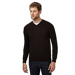 Jeff Banks - Big and tall designer dark brown v neck cashmere blend jumper