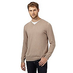 Jeff Banks - Big and tall designer taupe v neck  jumper