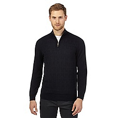 Jeff Banks - Navy wool blend zip neck jumper