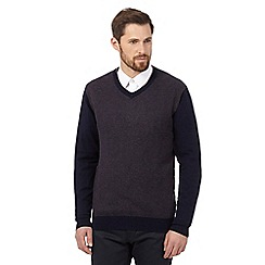 Jeff Banks - Big and tall navy V neck jumper