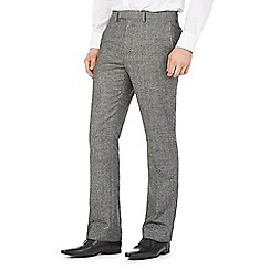 Jeff Banks - Big and tall grey crosshatch wool trousers