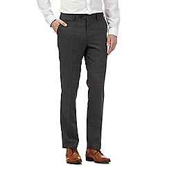Jeff Banks - Dark grey wool blend checked slim trousers