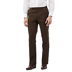 Jeff Banks - Big and tall brown checked slim fit trousers