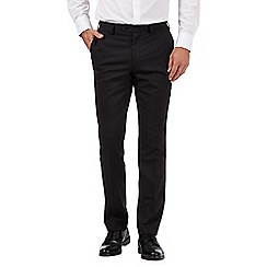 Jeff Banks - Big and tall designer black herringbone slim trousers