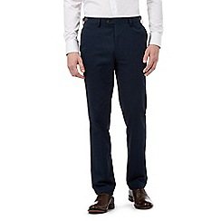 Jeff Banks - Big and tall navy trousers with leatherette trim