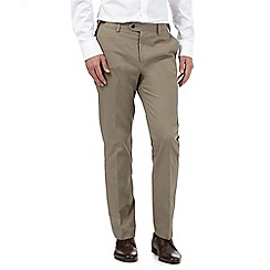 Jeff Banks - Big and tall taupe leatherette trim chinos